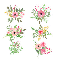 Floral set collection with flowers drawing vector