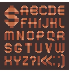 Font from brownish scotch tape - Roman alphabet vector image