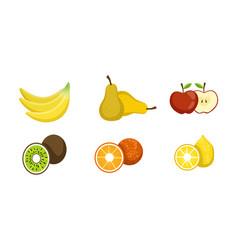 fresh fruits set banana pear apple kiwi vector image