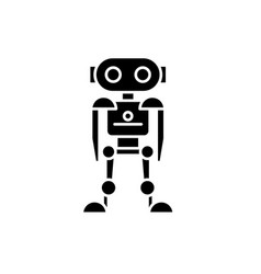 future robot black icon sign on isolated vector image