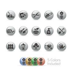 Gardening icons - metal round series vector