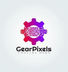 Gear pixel logo designtechnology icon vector