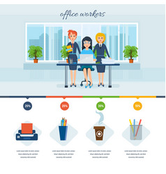 Girls in costume working in office interior room vector