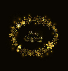 gold snowflake frame black background christmas vector image
