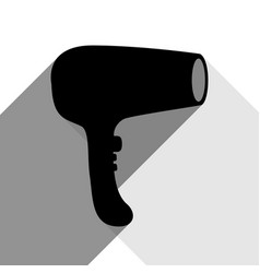 hair dryer sign black icon with two flat vector image