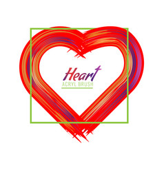 hand-drawn painted heart or acrylic brush heart vector image