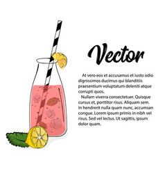 hand drawn pink lemonade vector image