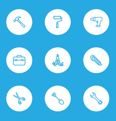 Handtools outline icons set collection of shears vector