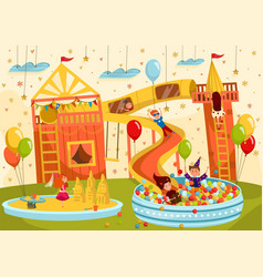 Happy children having fun together in playroom vector