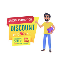 Happy customer with gift and discount promo poster vector