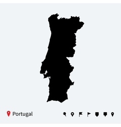 high detailed map portugal with navigation pins vector image