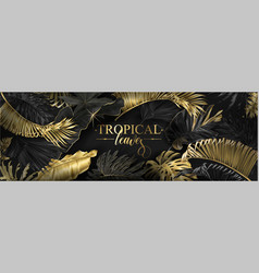 horizontal banner with gold tropical leaves vector image