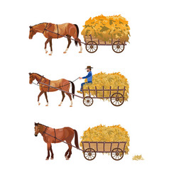 horse-drawn cart with hay vector image