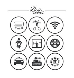 Hotel apartment service icons barbershop sign vector