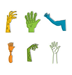 human hand icon set color outline style vector image