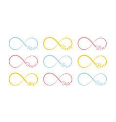 Infinity symbols colored repetition vector
