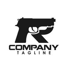 initial r gun logo creative concept vector image