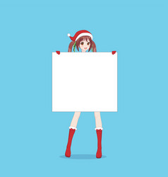 japanese asian woman holding white big sign board vector image