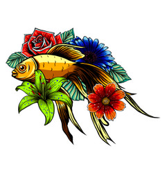 japanese koi fish tattoo vector image