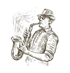 Jazz saxophone player sketch music concept vector