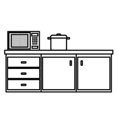 Kitchen drawer with microwave oven and pot vector