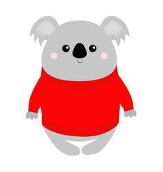 Koala in red ugly sweater merry christmas kawaii vector