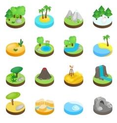 Landscape isometric 3d icons vector