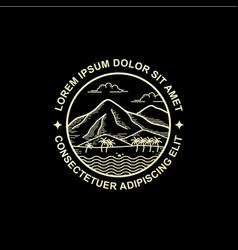 Line art style mountain logo design vector