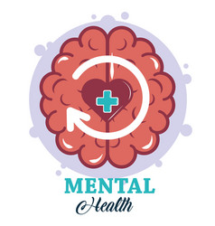 Mental health day human brain heart disorder vector