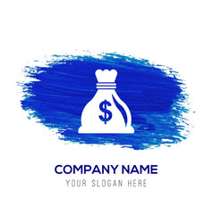 money bag icon - blue watercolor background vector image