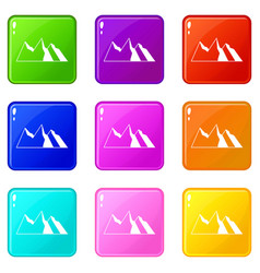 Mountains icons 9 set vector