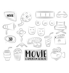 Movie cinema icons set colorful hand drawn doodle vector
