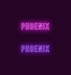 Neon name of phoenix city in usa text vector