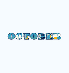 October concept word art vector