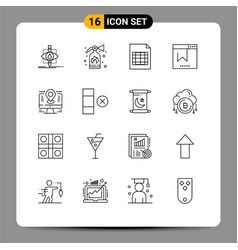 Pack 16 modern outlines signs and symbols for vector