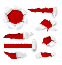 paper hole realistic torn edge rip white sheet vector image