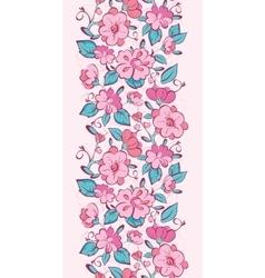 Pink blue kimono flowers vertical border vector