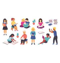 reading kids happy cartoon children reading books vector image