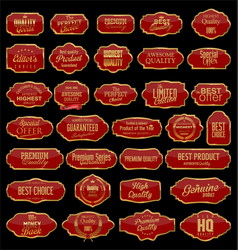 retro vintage gold and red sale frames collection vector image
