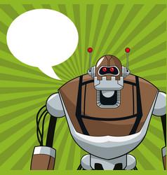 robot electric mechanical bubble speech vector image