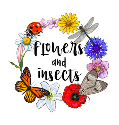round frame of insects and flowers with place for vector image
