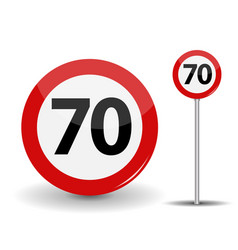 Round red road sign speed limit 70 kilometers per vector