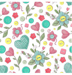 seamless pattern handmade knitted flowers vector image