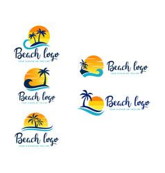 Set beach logo design vector
