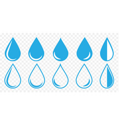 set blue water drops icon vector image