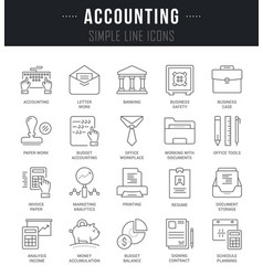 Set line icons of accounting vector