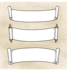 set vintage scrolls vector image