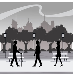 silhouette persons walk city park brench lamp vector image