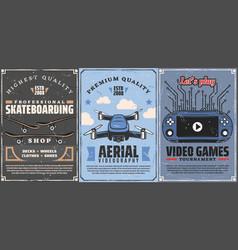 skateboarding hoband leisure video games vector image