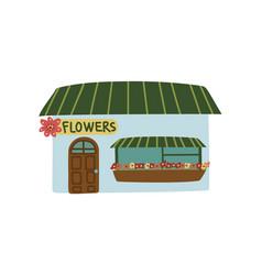 Small flower shop public city building front view vector
